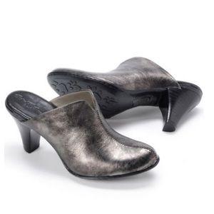 Born Pinto Metallic Pewter Leather Slip On Mule